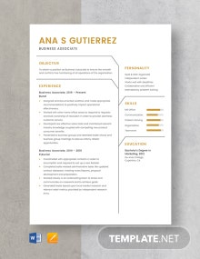Business Associate Resume Template