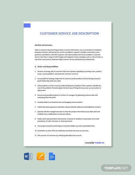 Free Customer Service Job Description Template