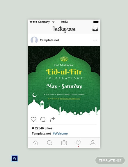 Free Eid Ul Fitr Instagram Post Template