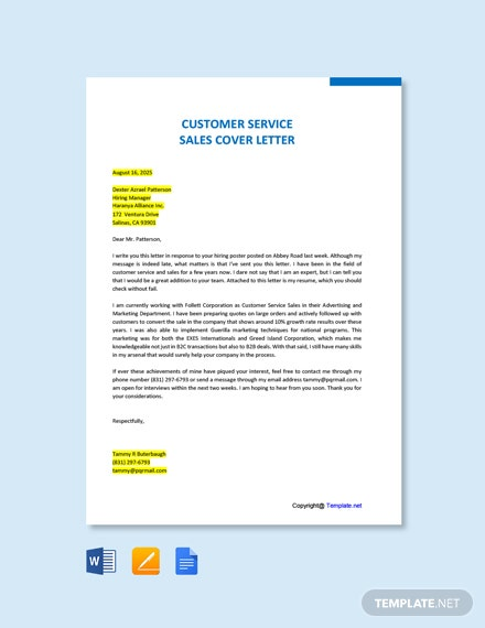 Free Customer Service Sales Cover Letter Template