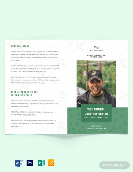 Printable Navy Honors Funeral Obituary Bi-Fold Brochure Template