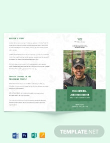 Printable Navy Honors Funeral Obituary Bi-Fold Brochure Template