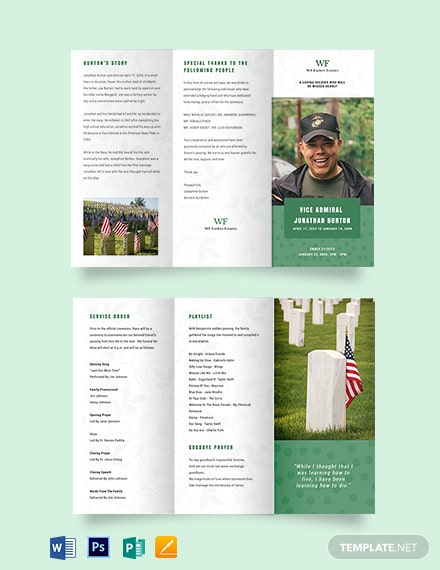 Printable Navy Honors Funeral Obituary Tri-Fold Brochure Template