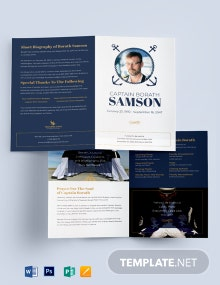 Navy Honors Funeral Program Bi-Fold Brochure Template