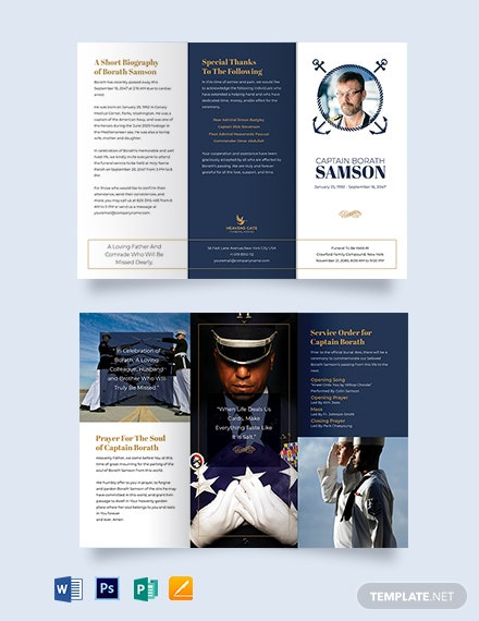 Navy Honors Funeral Program Tri-Fold Brochure Template