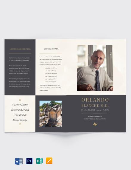 Order of service Funeral Mass Bi-Fold Brochure Template