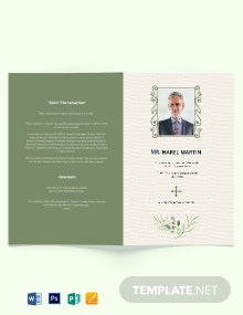 Printable Catholic Funeral Bi-Fold Brochure Template