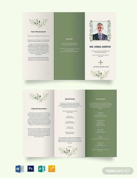 Printable Catholic Funeral Tri-Fold Brochure Template