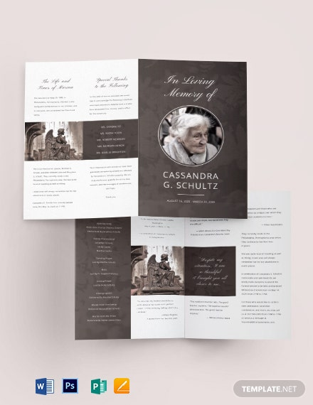 Printable Cremation Funeral Bi-Fold Brochure Template