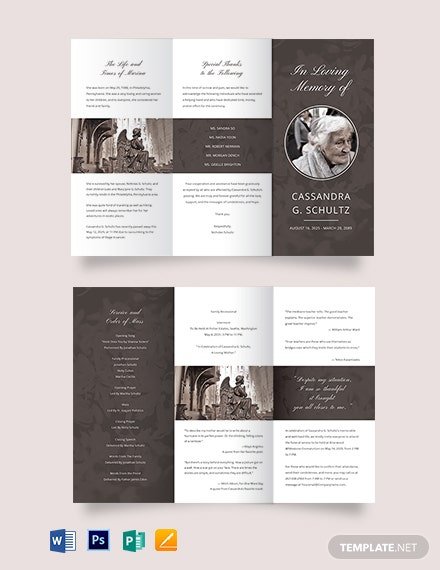 Printable Cremation Funeral Tri-Fold Brochure Template
