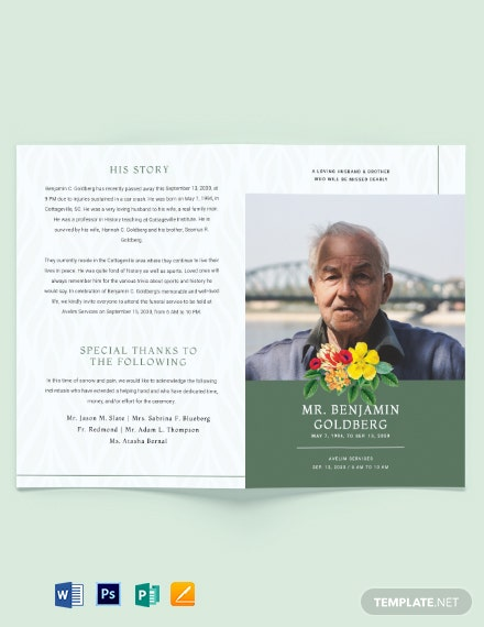 Printable Eulogy Funeral Bi-Fold Brochure Template