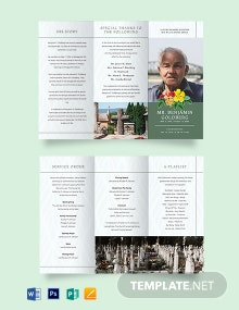 Printable Eulogy Funeral Tri-Fold Brochure Template