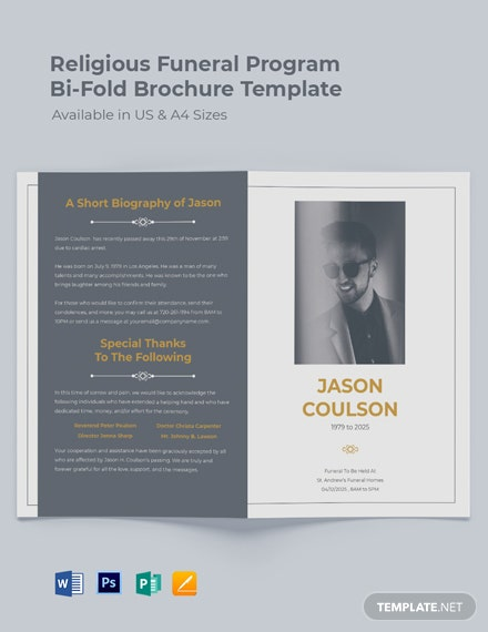 Religious Funeral Program Bi-Fold Brochure Template
