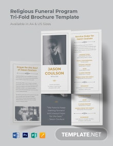 Religious Funeral Program Tri-Fold Brochure Template