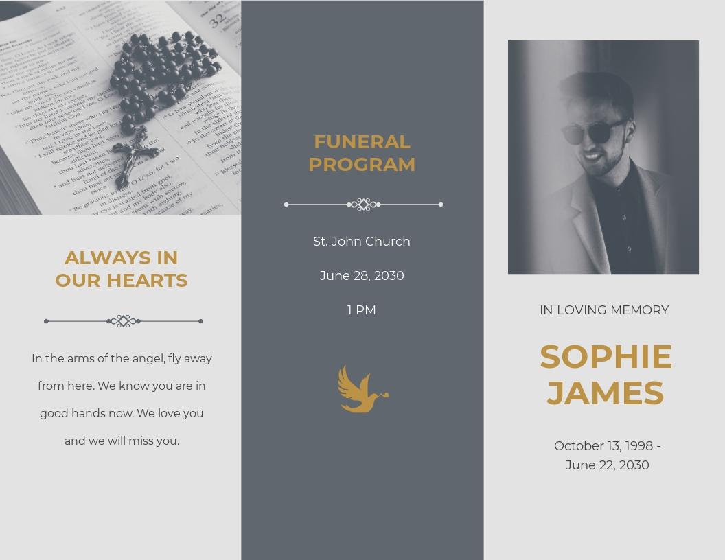 Religious Funeral Program Tri Fold Brochure Template.jpe
