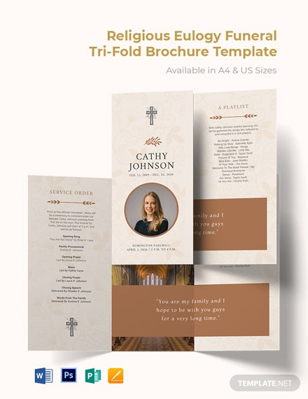 Religious Eulogy Funeral Tri-Fold Brochure Template