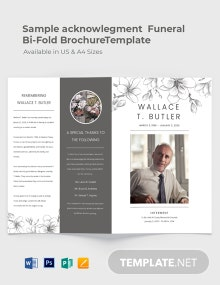 Sample Acknowledgement Funeral Bi-Fold Brochure Template