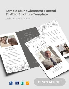 Sample Acknowledgement Funeral Tri-Fold Brochure Template