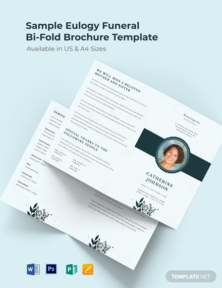 Sample Eulogy Funeral Bi-Fold Brochure Template