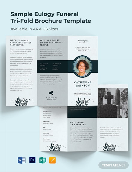 Sample Eulogy Funeral Tri-Fold Brochure Template