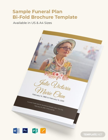 Sample Funeral Plan Bi-Fold Brochure Template