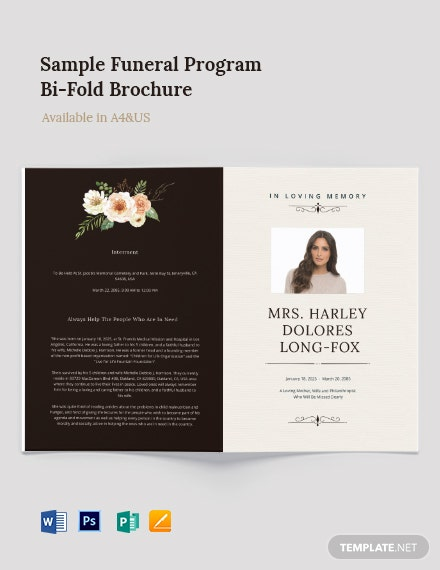 Sample Funeral Program Bi-Fold Brochure Template
