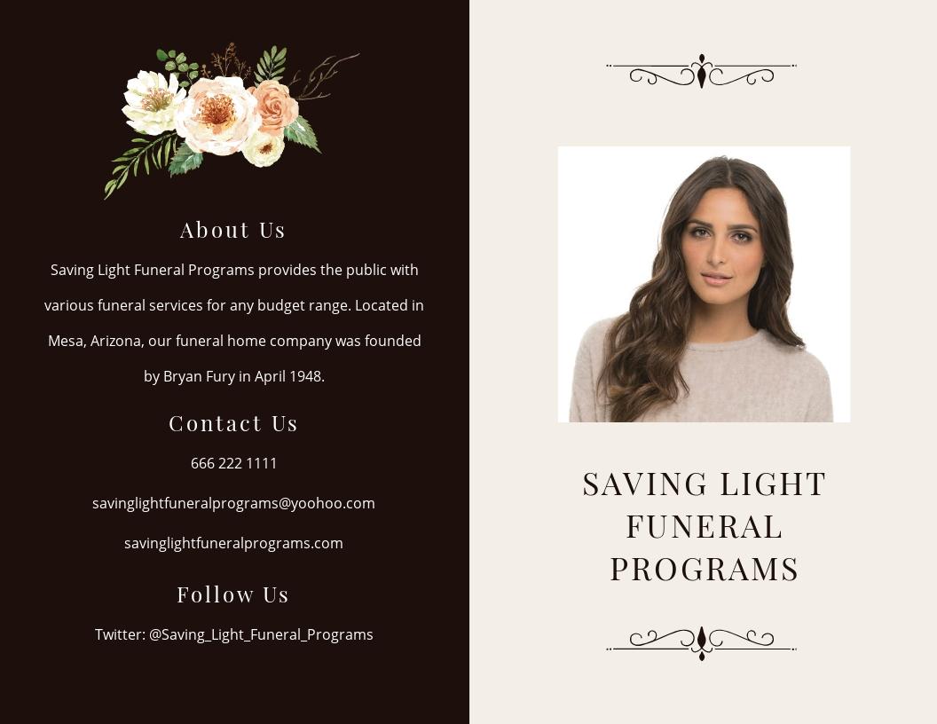 Sample Funeral Program Bi-Fold Brochure Template [Free JPG] - Word, Apple Pages, PSD