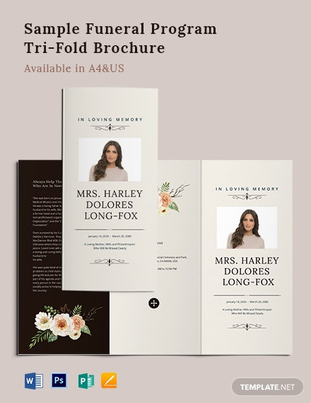 Sample Funeral Program Tri-Fold Brochure Template