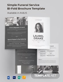 Simple Funeral Service Bi-Fold Brochure Template