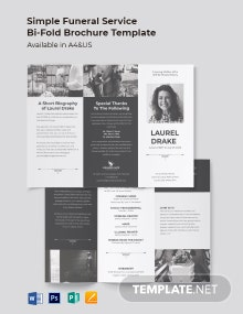 Simple Funeral Service Tri-Fold Brochure Template