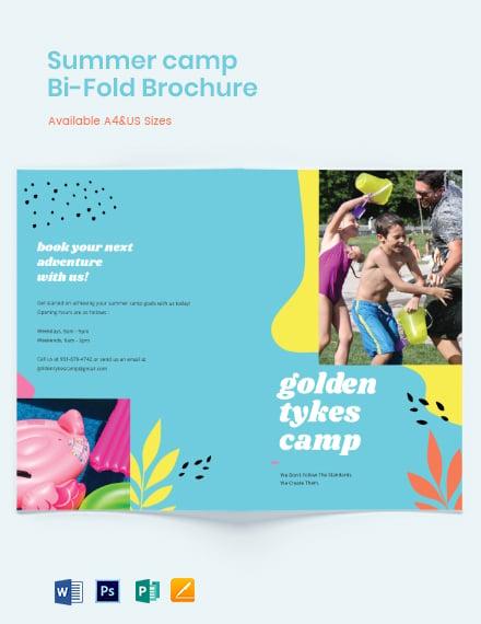 Sample Summer Camp Bi-Fold Brochure Template