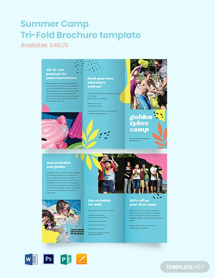 Sample Summer Camp Tri-Fold Brochure Template