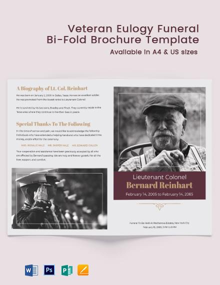 Veteran Eulogy Funeral Bi-Fold Brochure Template