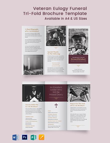 Veteran Eulogy Funeral Tri-Fold Brochure Template