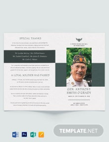 Veteran Funeral Memorial Bi-Fold Brochure Template