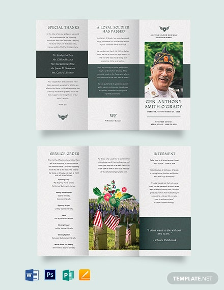 Veteran Funeral Memorial Tri-Fold Brochure Template