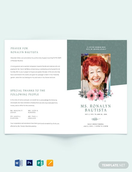 Veteran Funeral Program Bi-Fold Brochure Template