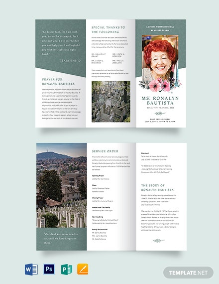 Veteran Funeral Program Tri-Fold Brochure Template