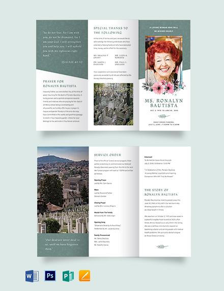 Veteran Funeral Program Tri-Fold Brochure Template