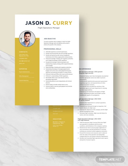 Flight Operations Manager Resume Download