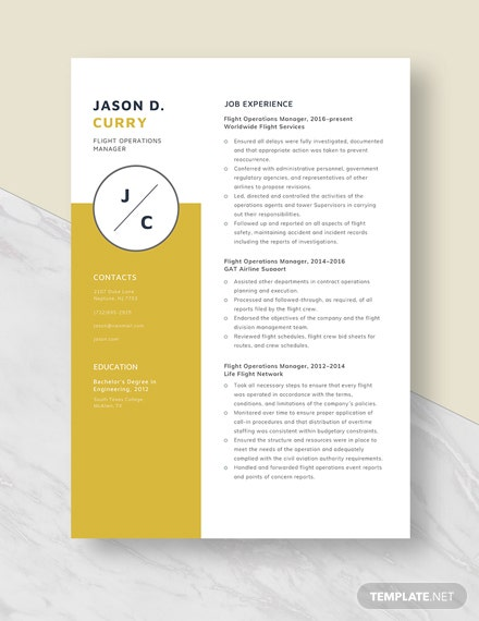 Flight Operations Manager Resume Template