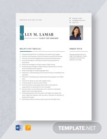Flight Test Engineer Resume Template