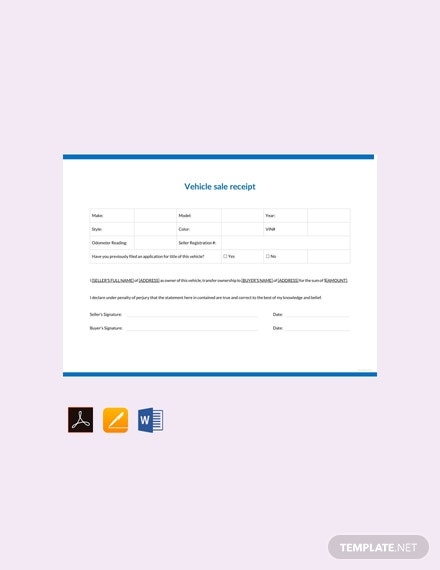 Free Vehicle Sale Receipt Template