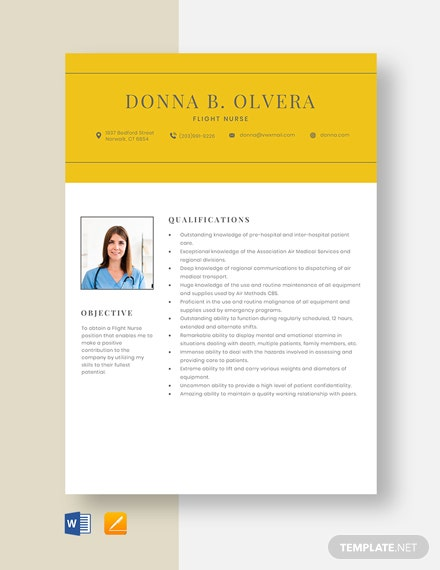 Flight Nurse Resume Template