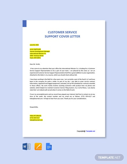 Free Customer Service Support Cover Letter Template