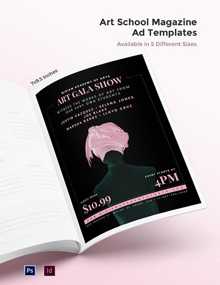 Art School Magazine Ads Template
