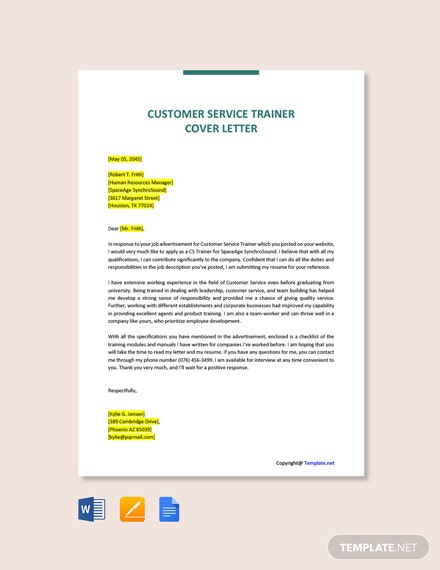 Free Customer Service Trainer Cover Letter Template