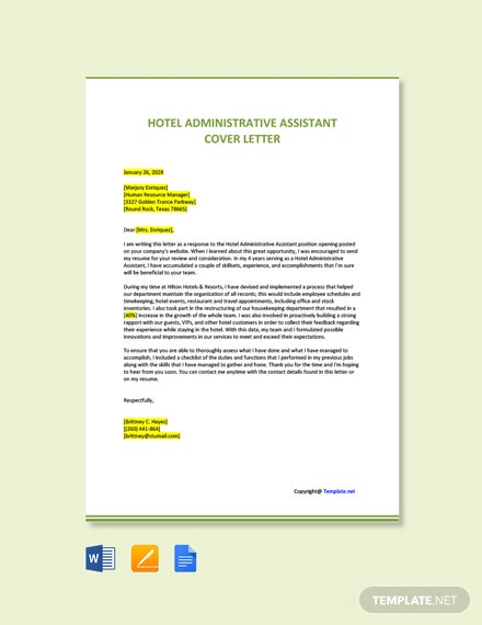 Free Hotel Administrative Assistant Cover Letter Template
