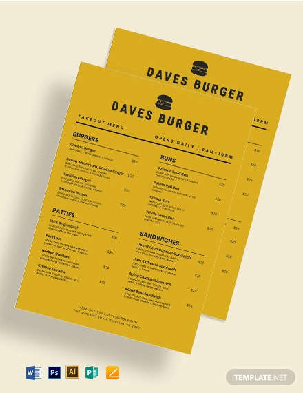 Takeaway Burger Menu Template