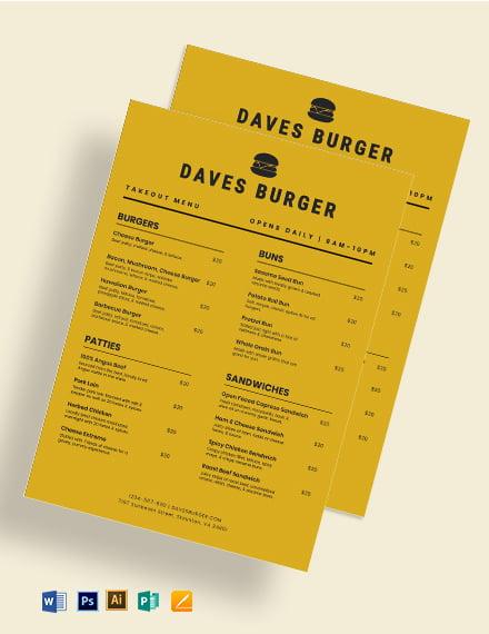 takeaway burger menu template